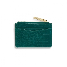 KATIE LOXTON CELINE FAUX CROC CARD HOLDER FOREST GREEN