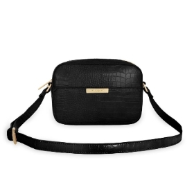 KATIE LOXTON CELINE FAUX CROC CROSSBODY BAG BLACK