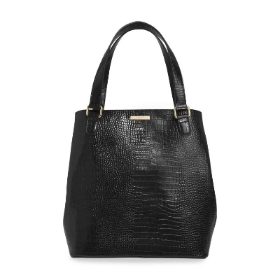 KATIE LOXTON CELINE FAUX CROC DAY BAG BLACK