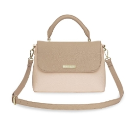 KATIE LOXTON TALIA TWO TONE MESSENGER BAG TAUPE AND NUDE PINK