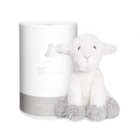 LAMB BABY TOY HELLO LITTLE ONE WHITE AND GREY