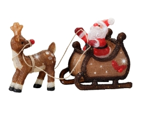LED ACRYLIC SANTA WITH SLEIGH OUTDOOR OR INDOOR 47CM