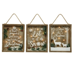 LED BATTERY OPERATED FRAME WITH TEXT 3 DESIGNS WARM WHITE