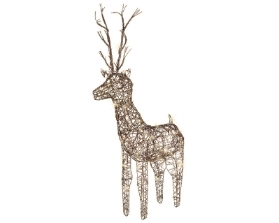 LED BROWN WICKER DEER OUTDOOR/INDOOR WARM WHITE 135CM