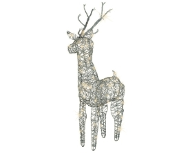 LED GREY WICKER DEER OUTDOOR/INDOOR WARM WHITE 69CM