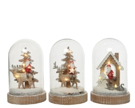 LED MDF CLOCHE SCENERIES BATTERY OPERATED 3 DESIGNS 15.5CM