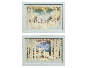 LED PICTURE FRAME SCENE BATTERY OPERATED 2 DESIGNS WARM WHITE 20CM