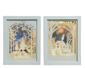 LED PICTURE FRAME SCENE BATTERY OPERATED WARM WHITE 2 DESIGNS