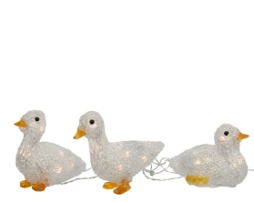 LED SET OF 3 ACRYLIC DUCKS OUTDOOR WARM WHITE