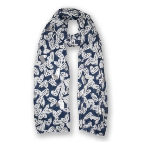 METALLIC SCARF SCATTERED HEART PRINT NAVY