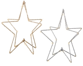 MICRO LED BATTERY OPERATED STAR 2 COLOURS 28CM