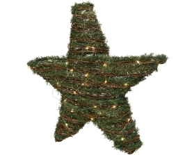 MICRO LED RATTAN STAR BATTERY OPERATED GREEN 48CM
