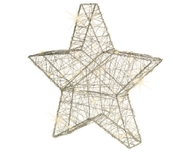 MICRO LED SILVER WIRE STAR BATTERY OPERATED WARM WHITE 30CM