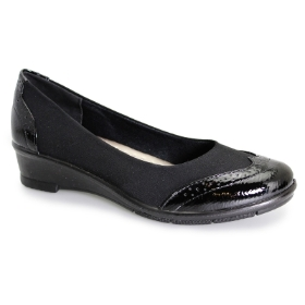NATASHA BLACK ELASTICATED BROGUE PUMP