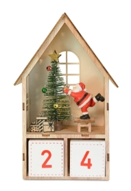 NATURAL WOOD HOUSE CHRISTAMS COUNTER WITH SANTA LED BTTERY OPERATED 24CM