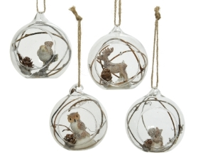 OPEN GLASS BAUBLE WITH ANIMAL 4 DESIGNS 8.5CM