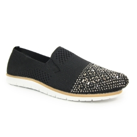 OWEN BLACK ELASTICATED CASUAL SHOE