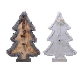 PINE WOOD TREE WITH FUR 2 COLOURS