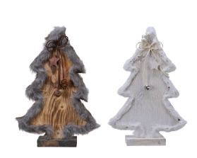 PINE WOOD TREE WITH FUR TRIM 2 COLOURS 30CM