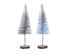 PLASTIC GLITTER TREE WITH WOODEN STAND 2 COLOURS 34CM