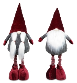PLUSH GNOME WITH EXTENDABLE LEGS 2 DESIGNS 95CM GREY BURGANDY
