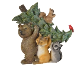 POLY ANIMALS WITH CHRISTMAS TREE ORNAMENT