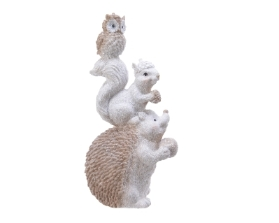 POLY HEDGEHOG WITH SQUIRREL AND OWL ORNAMENT 20.5CM