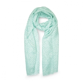 PRINTED SCARF MOSAIC PRINT MINT GREEN AND WHITE