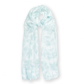 PRINTED SCARF PALM LEAF PRINT WHITE AND GREEN