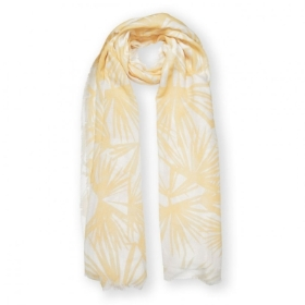 PRINTED SCARF TROPICAL LEAF PRINT WHITE AND YELLOW