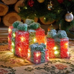 SET OF 3 LED GIFTS RED