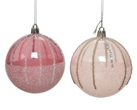 SHATTERPROOF BAUBLE WITH GLITTER PINK 2 DESIGNS 8CM
