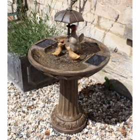 SMART SOLAR DUCK FAMILY FOUNTAIN WATER FEATURE