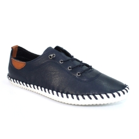 ST IVES NAVY LEATHER PILMSOLE