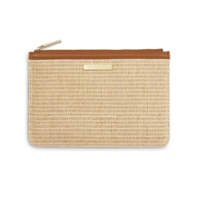 STRAW POUCH COGNAC AND NATURAL