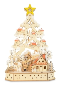 WOOD ARCH TREE WINTER SCENE BATTERY OPERATED LED